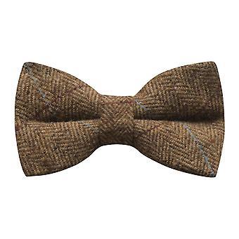 Luxury Herringbone Brown Tweed Bow Tie