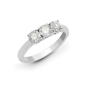 Jewelco London solid 18ct hvit gull 4 Claw Round G SI1 0,75 CT diamant 3 stein uniform Trilogy ring 4mm