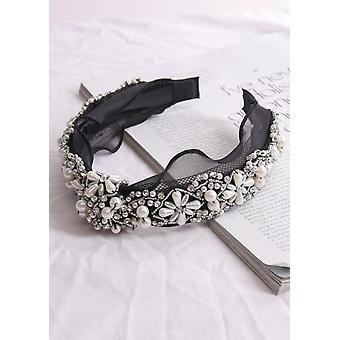 Knot Front Pearl And Diamante Embellished Headband Black