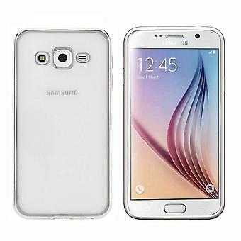 Samsung J3 2016 Srebrny etui - Zderzak Backcover Clear