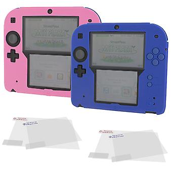 Cover & protect twin pack for nintendo 2ds inc silicone skins & screen protectors - pink & blue