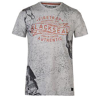 Firetrap Mens Floral T Shirt Crew Neck Tee Top Short Sleeve Print All Over