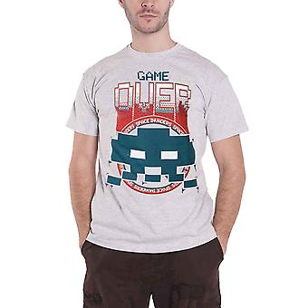 Space Invaders T Shirt Game Over new Official retro gamer Mens Grey