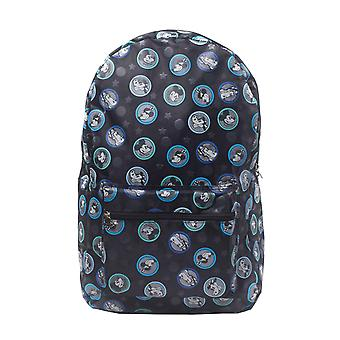 Mickey Mouse Backpack Charcter Faces all over print new Official Disney Black