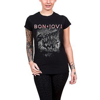 Bon Jovi T Shirt glissante lorsque mouillée Album nouveau officiel du Womens de Skinny Fit noir
