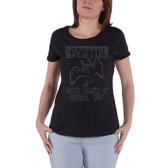 Led Zeppelin T Shirt USA 1977 Band Logo new Official Womens Skinny Fit Black