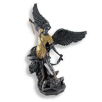 Pewter And Gold Finish St. Michael Defeating Lucifer Statue