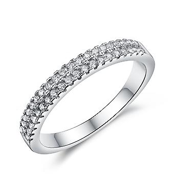925 Sterling Silver Clawset Eternity 2 Rows Band
