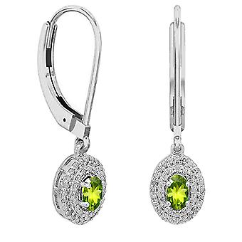 Dazzlingrock Collection 10K 5X3 MM Each Oval Peridot & Round Diamond Ladies Halo Dangling Drop Earrings, White Gold