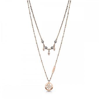 Guess Jewellery Guess Double Chain Crystal Rose Encrusted Charm Necklace UBN78020