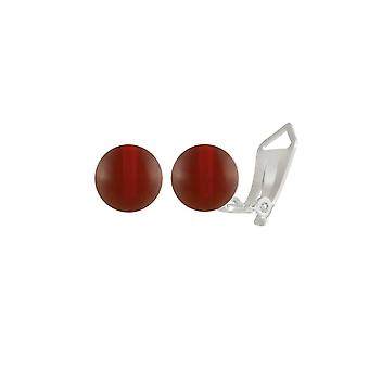 Eternal Collection Solo Carnelian Semi Precious Sterling Silver Stud Clip On Earrings