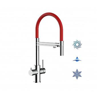 5-way Inox Filter Tap Red Spout And 2 Jets Spray, Ideal For Sparkling, Plain And Cooled Water Systems - Polished - 435
