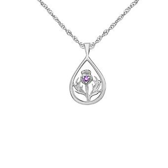 Scottish Thistle Flower Of Scotland Teardrop Shaped Necklace Pendant - Amethyst Colour Stone - Includes A 22