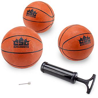 Set of 3 5-Inch Mini Basketballs w/Needle, Inflation Pump
