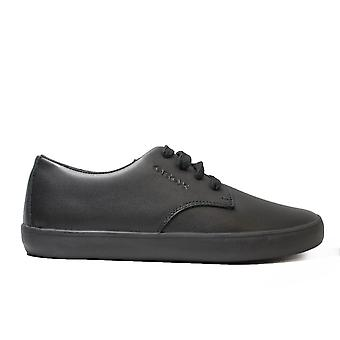 Geox Kilwi J64A7G Black Boys Lace Up Plimsoll School Shoe