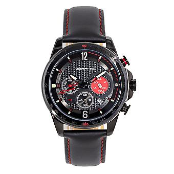 Morphic M88 Series Chronograph Leather-Band Watch w/Date - Noir