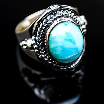 Larimar Ring Size 7.25 (925 Sterling Silver)  - Handmade Boho Vintage Jewelry RING979959