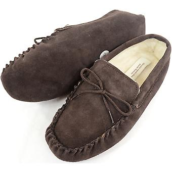Mens Brown Moccasin Schapenvacht Pantoffel