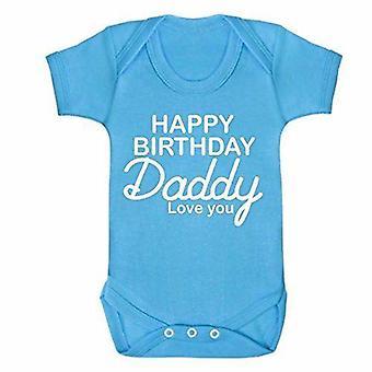 Happy birthday daddy blue short sleeve babygrow