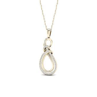 Igi certified 10k yellow gold 0.16ct tdw diamond infinity necklace
