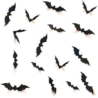 DIY Halloween Party Supplies PVC 3D Decorative Scary Bats Set, 28pcs, Black