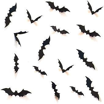 DIY هالوين الطرف اللوازم PVC 3D الزخرفية مجموعة الخفافيش مخيف، 28pcs، أسود