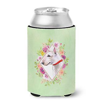 Carolines Treasures  CK4284CC Bull Terrier Green Flowers Can or Bottle Hugger