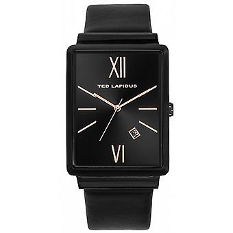 Shows Ted Lapidus 5132202 - date Bracelet leather black case steel rectangular woman