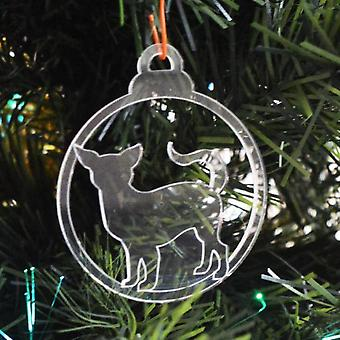 Dog Bauble Clear Acrylic Christmas Decorations 6pk - Standing Chihuahua