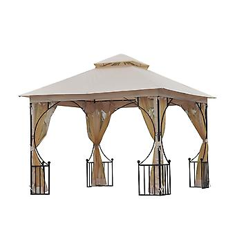 Outsunny 3 x 3 Meters Gazebo Outdoor Patio Party Tent Shelter Garden Canopy Double Tier Sun Shade Steel Frame Beige