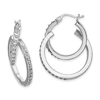 925 Sterling Silver Diamond Mystique Double Hoop Earrings Jewelry Gifts for Women - .010 dwt