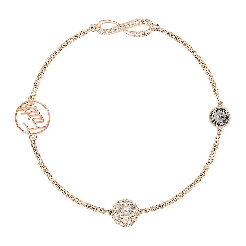 Swarovski Remix Rose Gold Tone Plated With Clear & Grey Crystal Infinity Bracelet