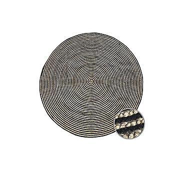 ブラック安息日ジュートインディアンデザインリサイクルフロアラグナチュラルとブラック