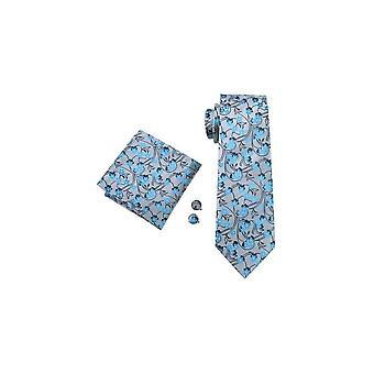 JSS Mens Blue & Silver Floral 100% Silk Pocket Square, Cufflink And Tie Set
