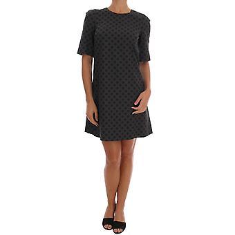 Dolce & Gabbana Gray Polka Dotted Wool Stretch Dress