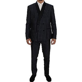 Dolce & Gabbana Blue Silk Fantasy Slim Fit 3 Piece Suit