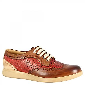Men's handmade casual lace-ups shoes in brandy red woven calf leather