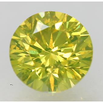 Cert 1.07 Ct Canary Yellow VVS1 Round Brilliant Enhanced Natural Diamond 6.51mm