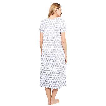 Cyberjammies 1376 Frauen's Nora Rose Portia grau Blatt Druck Baumwolle stricken Nachthemd