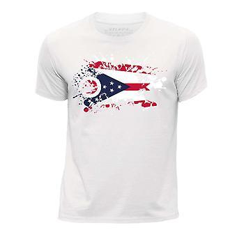 STUFF4 Pojan Pyöreä kaula T-paita / / Ohio USA-osavaltion lippu Splat/valkoinen
