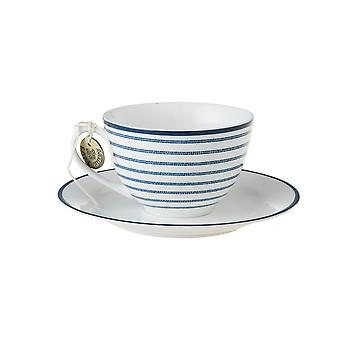 Laura Ashley Cappuccino Cup and Saucer, Candy Stripe