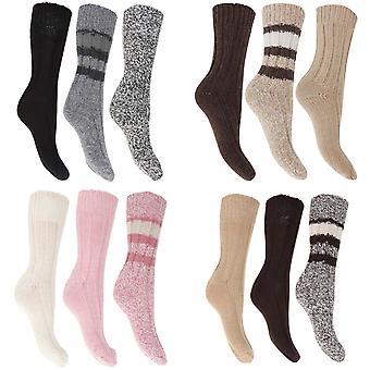 FLOSO женская/мужская тепловой толстые коренастый шерсти смешаны носки (упаковка из 3)