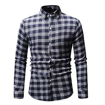 Allthemen الرجال & apos;ق منقوشة قميص مطبوع سليم صالح طويل الأكمام تي شيرت ارتداء العمل
