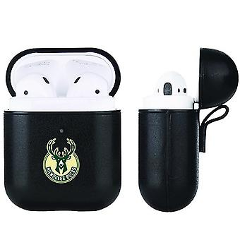 Milwaukee Bucks NBA Fan Brander Zwart lederen AirPod Case
