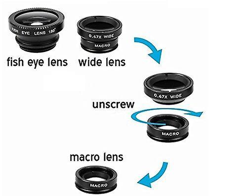 ONX3 Lenovo K6 potenza (nero) 3 in 1 telefono fotocamera lente Kit Fisheye Lens + grandangolare + obiettivo Macro con universale gradi clip-on 180 per sia Android e iOS dispositivi