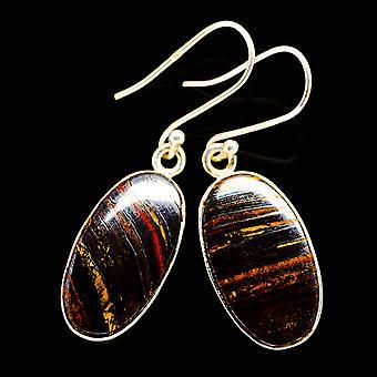"Red Tiger Iron Earrings 1 3/4"" (925 Sterling Silver)  - Handmade Boho Vintage Jewelry EARR400658"