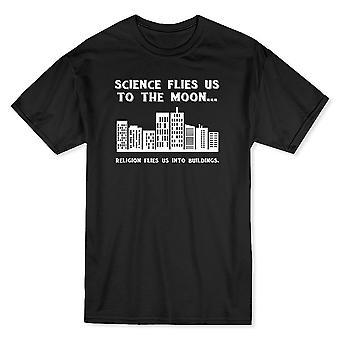 Science Flies Us To The Moon Men's Black T-shirt