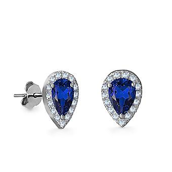 Earrings Empress Precious Stone,  18K Gold and Diamonds with Ruby | Emerald | Sapphire - White Gold, Sapphire
