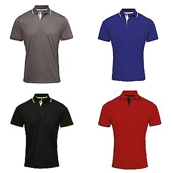 Premier Mens Contrast Coolchecker Polo Shirt