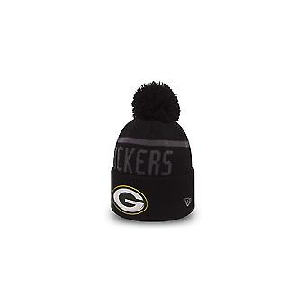 New Era Nfl Green Bay Packers Black Collection Cuffed Pom Knit